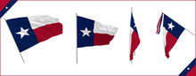 Set Of Texas State Waving Flag In Solemn Or Proud Style. Vector Illustration.