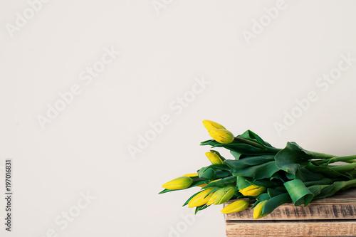 Fototapeta Bouquet of tulips in vase over white background obraz na płótnie