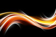 canvas print picture - Orange yellow blurred glowing waves design.
