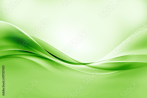 Green bright waves art. Blurred effect background. Abstract creative graphic design. Decorative fractal style. #197017489