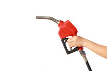 Woman Hand Holding A Fuel Nozzle On White Background
