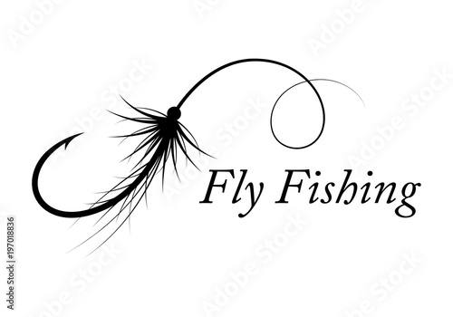 Tablou Canvas graphic fly fishing, vector