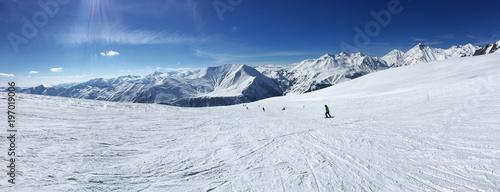 Amazing view on Georgian mountains in Gudauri ski resort.