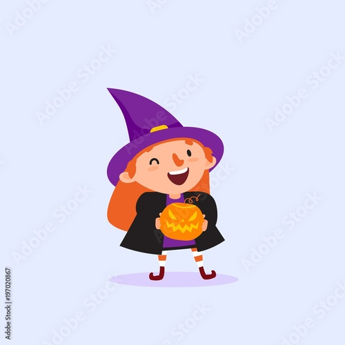 In de dag Indiërs Halloween Witch holding pumpkin in hands and laughing Vector illustration