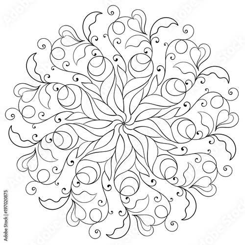 Photo  circular floral monochrome pattern for coloring book