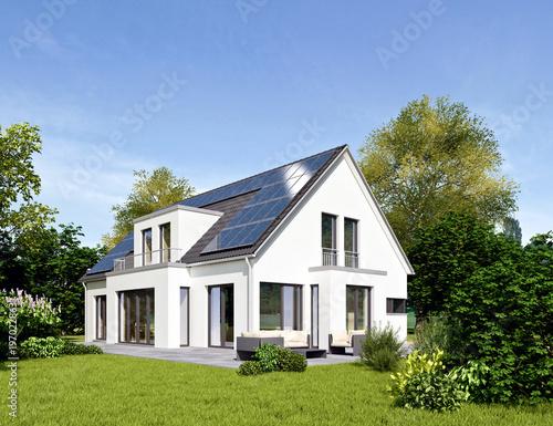 Fotografie, Obraz  Einfamilienhaus 18 mit Solardach