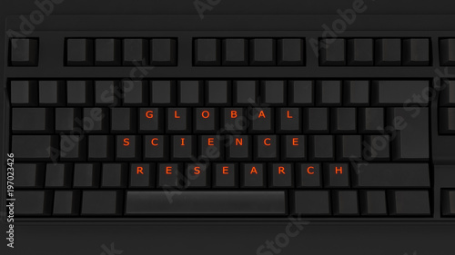фотография  Close Up of Illuminated Glowing Keys on a Black Keyboard Spelling Global Science