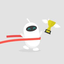 Cute White Running Robot Cross...