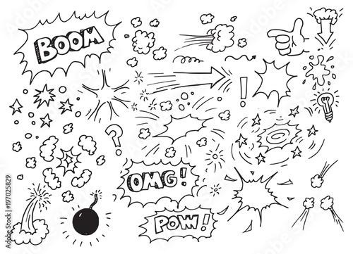 Fotografia  Hand drawn comic doodles