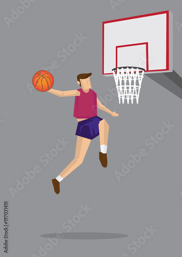 Fotografiet  Basketball Player Leaps Up in Mid Air Vector Cartoon Illustration
