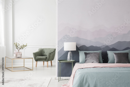 Spoed Foto op Canvas Wit Large bed by landscape wallpaper