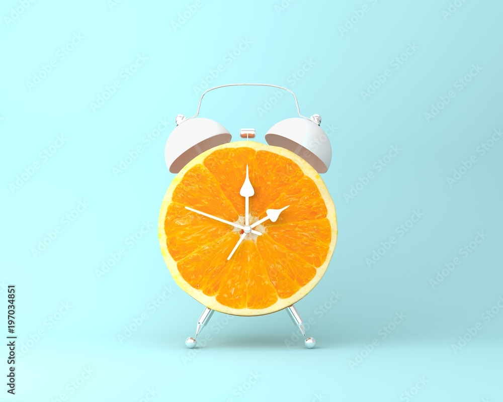 Fototapety, obrazy: Creative idea layout fresh orange slice alarm clock on pastel blue background. minimal idea business concept. fruit idea creative to produce work within an advertising marketing communications