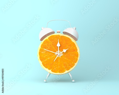 Creative idea layout fresh orange slice alarm clock on pastel blue background. minimal idea business concept. fruit idea creative to produce work within an advertising marketing communications - 197034851