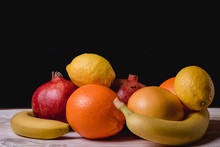Collection Fresh Fruit Isolated On Black