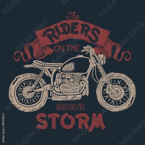 Carta da parati Vintage Motorcycle hand drawn t-shirt print