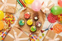 Assortment Of Tasty Cupcakes A...