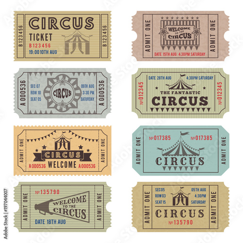 Obraz na plátně Design template of circus tickets