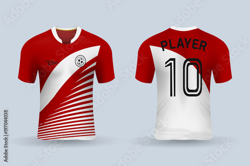 3bbbbe261 3D realistic mock up of front and back of soccer jersey shirt. Concept for  soccer team uniform or football apparel mockup. Red soccer kit t-shirt  template ...