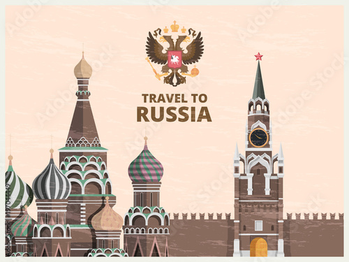 Fotografia Vintage poster or travel card with illustrations of kremlin russian cultural lan