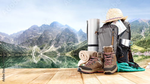 Obraz backpack and mountains  - fototapety do salonu