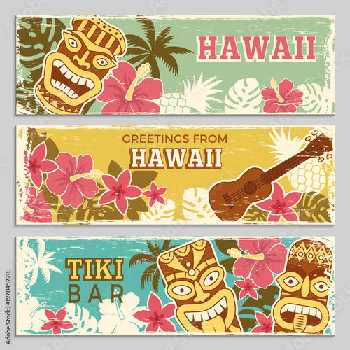 Horizontal banners set with illustrations of hawaiian tribal gods and other different symbols