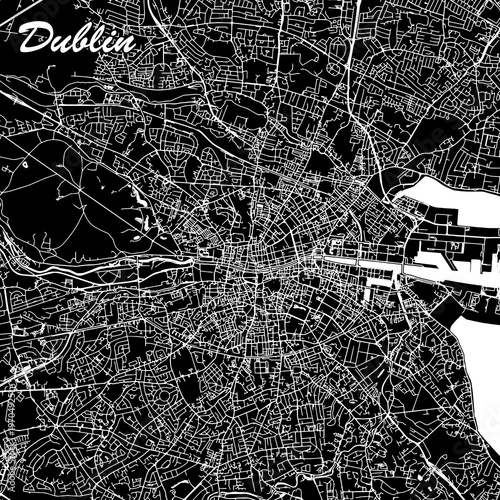 Dublin Ireland City Map Black and White Wallpaper Mural
