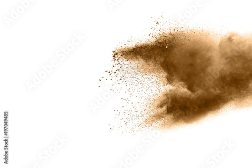 Photo  Freeze motion of brown dust explosion