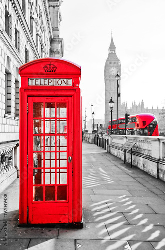 Foto op Canvas Londen Red telephone box and Big Ben in London with isolated color effect.