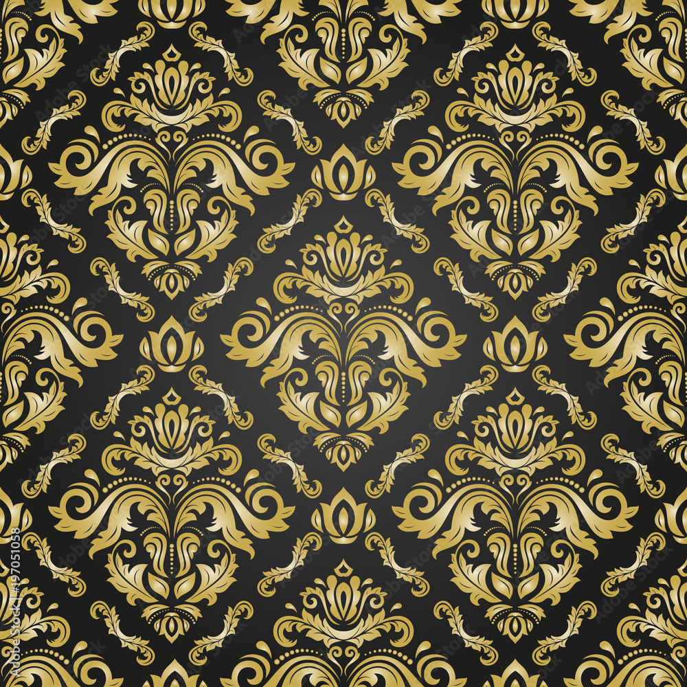 Orient vector classic black and golden pattern. Seamless abstract background with vintage elements. Orient background