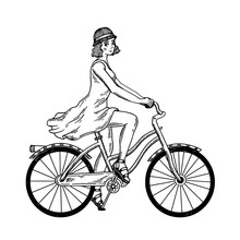 Young Woman Ride On Bicycle En...