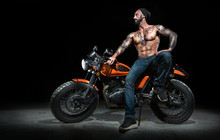 Stylish Motorcycle Chopper With Exclusive Man Rider At Night