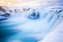 Iceland In Winter Famous Godafoss Waterfall