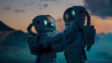 Two Astronauts In Space Suits ...