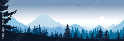 Staande foto Blauwe hemel wide mountain landscape with forest and flying birds under the morning sky with clouds and rising sun - vector, suitable for outdoor advertising