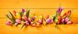 Leinwandbild Motiv Easter or Spring banner with colorful flowers
