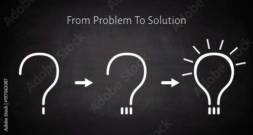 Fotografie, Obraz  From problem to solution concept background.