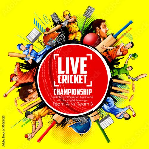 Canvastavla  Batsman and bowler playing cricket championship sports