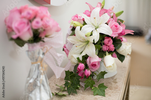 Romantic Flower Decoration In An Hotel Room For A Couple In Love White Flowers With Pink Roses Valentines Day Concept Beautiful Flower Bouquet Buy This Stock Photo And Explore Similar Images