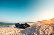 Inflatable boat on the beach.