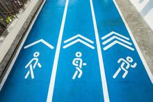Blue Concrete Runway, Walkway And Jogging Way