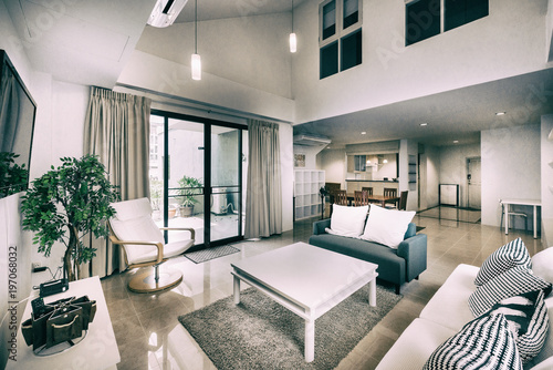 Fotografie, Obraz  Living room of loft apartment -vintage filter