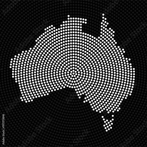 Photo  Abstract Australia map of radial dots. Vector