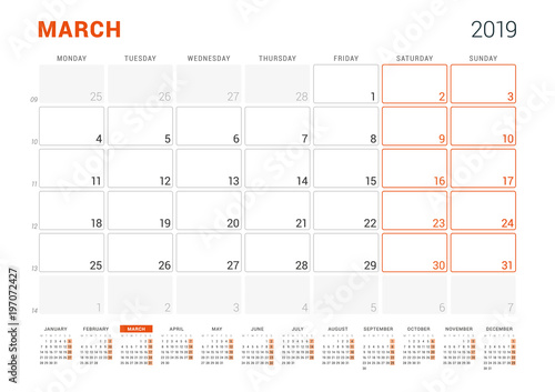 March 2019 Calendar Planner For 2019 Year Vector Design