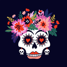 Woman Skull With The Wreath Of Flowers. Vector Holiday Illustration For Day Of The Dead Or Halloween. Funny Card Design.