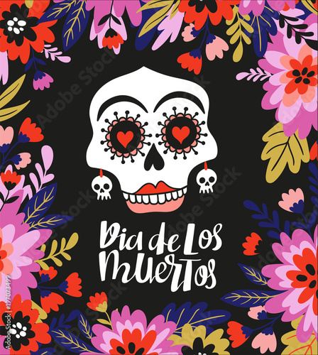 Skull And Text In The Floral Frame Vector Holiday Illustration For