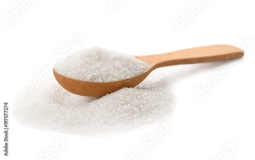 Fotografie, Obraz  Wooden spoon with pure sugar on white background