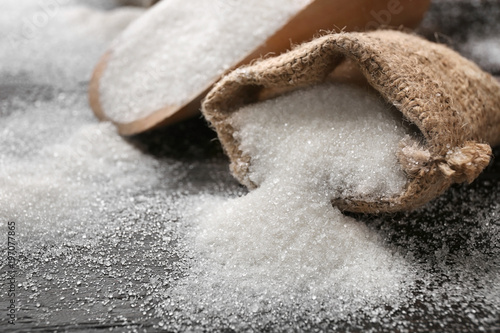Foto Sack with pure sugar on table