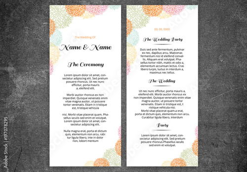 wedding program layout with line art flowers 1 buy this stock