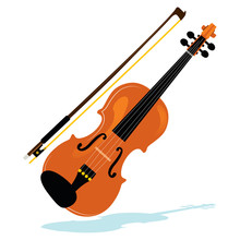 Illustration Of Violin With Bo...