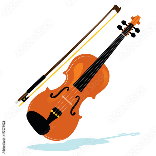 Fotografia Illustration of violin with bow philharmonic orchestra instrument